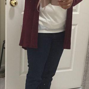Susina Sweaters - Hooded Waffle Knit Cardigan